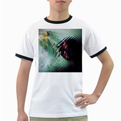Out Of Time Glass Pearl Flowag Ringer T-Shirts