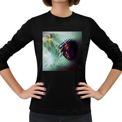 Out Of Time Glass Pearl Flowag Women s Long Sleeve Dark T Shirts