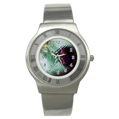 Out Of Time Glass Pearl Flowag Stainless Steel Watch