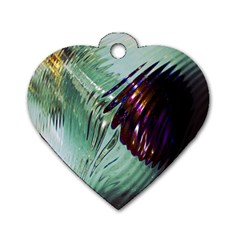Out Of Time Glass Pearl Flowag Dog Tag Heart (two Sides)
