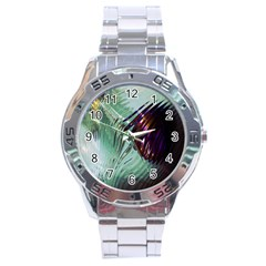 Out Of Time Glass Pearl Flowag Stainless Steel Analogue Watch