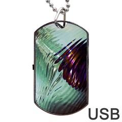 Out Of Time Glass Pearl Flowag Dog Tag Usb Flash (one Side)