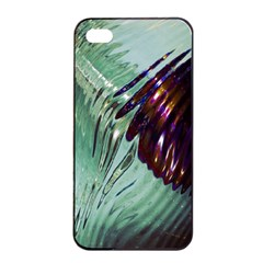 Out Of Time Glass Pearl Flowag Apple iPhone 4/4s Seamless Case (Black)