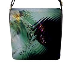 Out Of Time Glass Pearl Flowag Flap Messenger Bag (l)