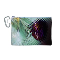 Out Of Time Glass Pearl Flowag Canvas Cosmetic Bag (m)