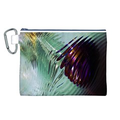 Out Of Time Glass Pearl Flowag Canvas Cosmetic Bag (L)