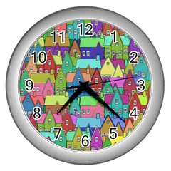 Neighborhood In Color Wall Clocks (silver)
