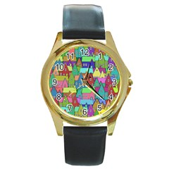 Neighborhood In Color Round Gold Metal Watch