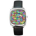Neighborhood In Color Square Metal Watch Front