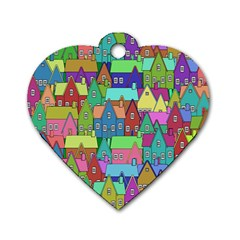 Neighborhood In Color Dog Tag Heart (One Side)