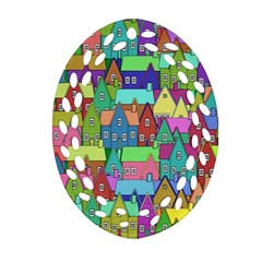Neighborhood In Color Oval Filigree Ornament (two Sides)