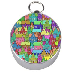 Neighborhood In Color Silver Compasses