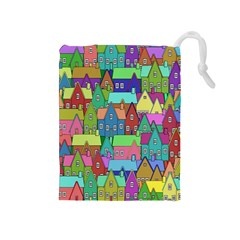 Neighborhood In Color Drawstring Pouches (Medium)