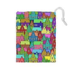 Neighborhood In Color Drawstring Pouches (Large)