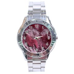 Texture Background Stainless Steel Analogue Watch