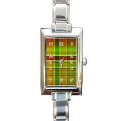 Multicoloured Background Pattern Rectangle Italian Charm Watch