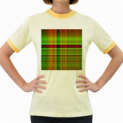 Multicoloured Background Pattern Women s Fitted Ringer T-Shirts