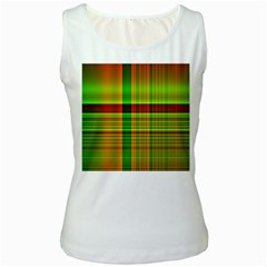 Multicoloured Background Pattern Women s White Tank Top