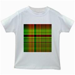 Multicoloured Background Pattern Kids White T Shirts