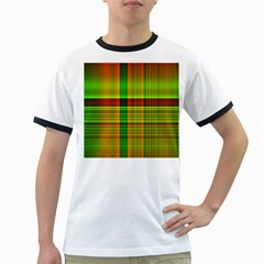 Multicoloured Background Pattern Ringer T-Shirts