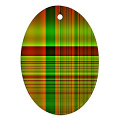 Multicoloured Background Pattern Oval Ornament (two Sides)