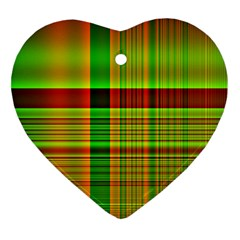 Multicoloured Background Pattern Heart Ornament (two Sides)