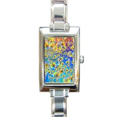 Color Particle Background Rectangle Italian Charm Watch