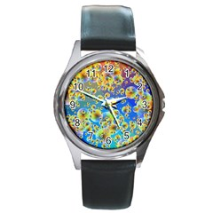 Color Particle Background Round Metal Watch