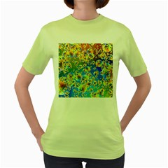 Color Particle Background Women s Green T Shirt