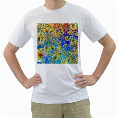 Color Particle Background Men s T-Shirt (White) (Two Sided)