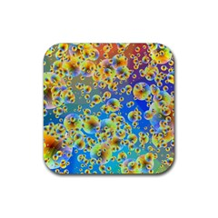 Color Particle Background Rubber Coaster (Square)