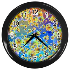 Color Particle Background Wall Clocks (Black)
