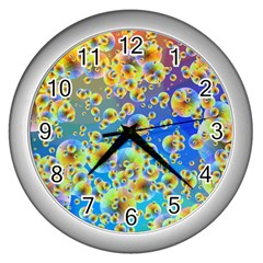Color Particle Background Wall Clocks (Silver)