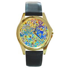 Color Particle Background Round Gold Metal Watch