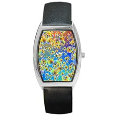 Color Particle Background Barrel Style Metal Watch
