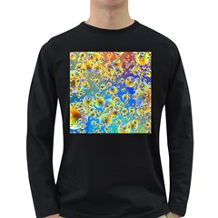 Color Particle Background Long Sleeve Dark T-Shirts