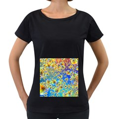 Color Particle Background Women s Loose Fit T Shirt (black)