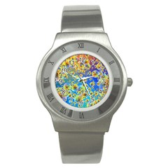 Color Particle Background Stainless Steel Watch