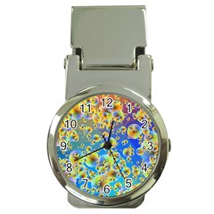 Color Particle Background Money Clip Watches