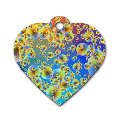 Color Particle Background Dog Tag Heart (One Side)
