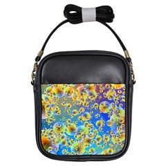 Color Particle Background Girls Sling Bags