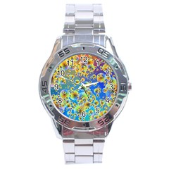 Color Particle Background Stainless Steel Analogue Watch