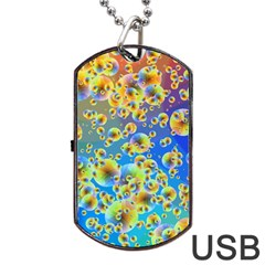 Color Particle Background Dog Tag USB Flash (One Side)