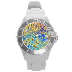 Color Particle Background Round Plastic Sport Watch (l)