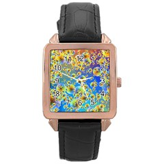 Color Particle Background Rose Gold Leather Watch