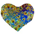 Color Particle Background Large 19  Premium Flano Heart Shape Cushions Front