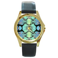 Branches With Diffuse Colour Background Round Gold Metal Watch