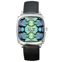 Branches With Diffuse Colour Background Square Metal Watch