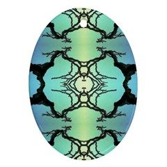 Branches With Diffuse Colour Background Oval Ornament (two Sides)