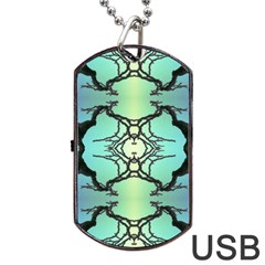 Branches With Diffuse Colour Background Dog Tag Usb Flash (two Sides)